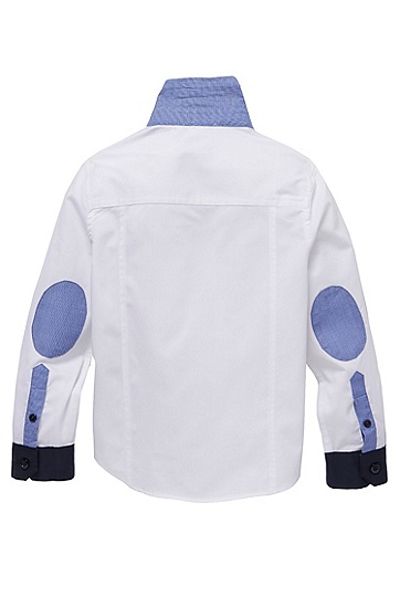 'J25644' | Boys Cotton Contrast Detail Button-Down Shirt with Elbow Patches, White