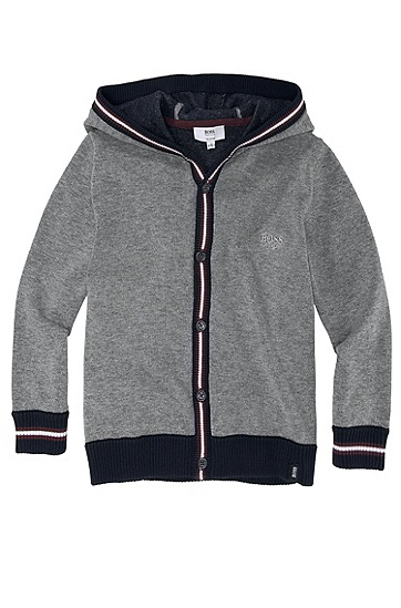'J25658' | Boys Pima Cotton Hooded Cardigan, Grey