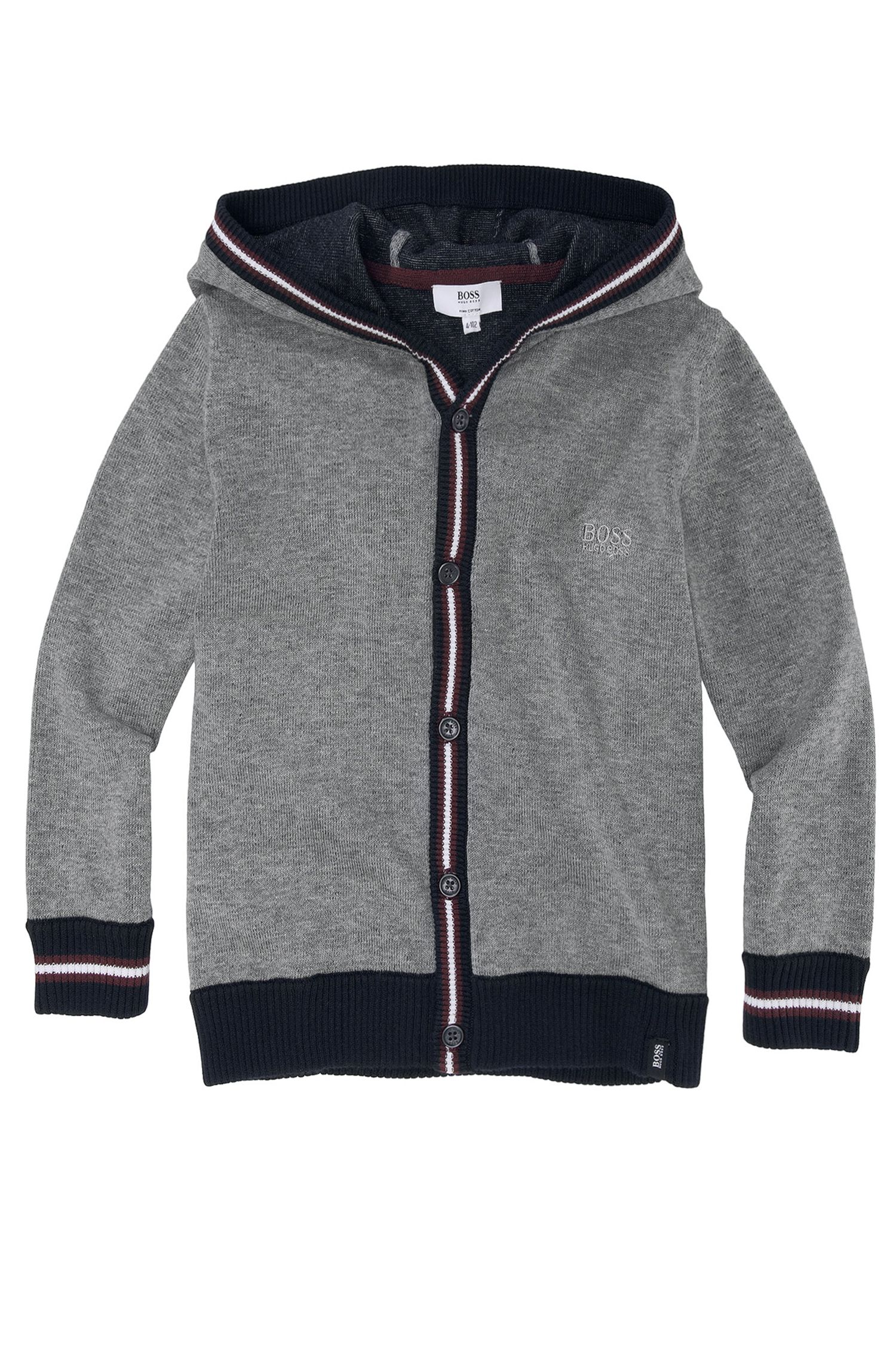 'J25658' | Boys Pima Cotton Hooded Cardigan