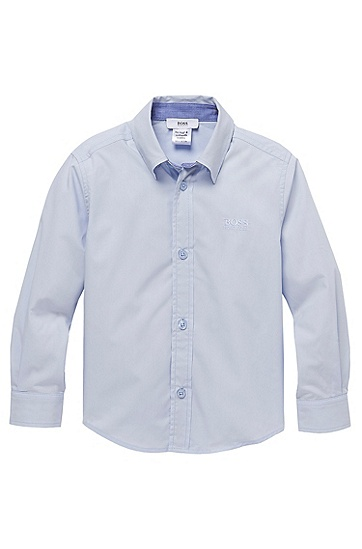 'J25660' | Boys Cotton Button Down Shirt, Light Blue
