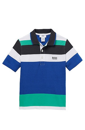'J25669' | Boys Cotton Jersey Color Blocked Polo Shirt, Blue