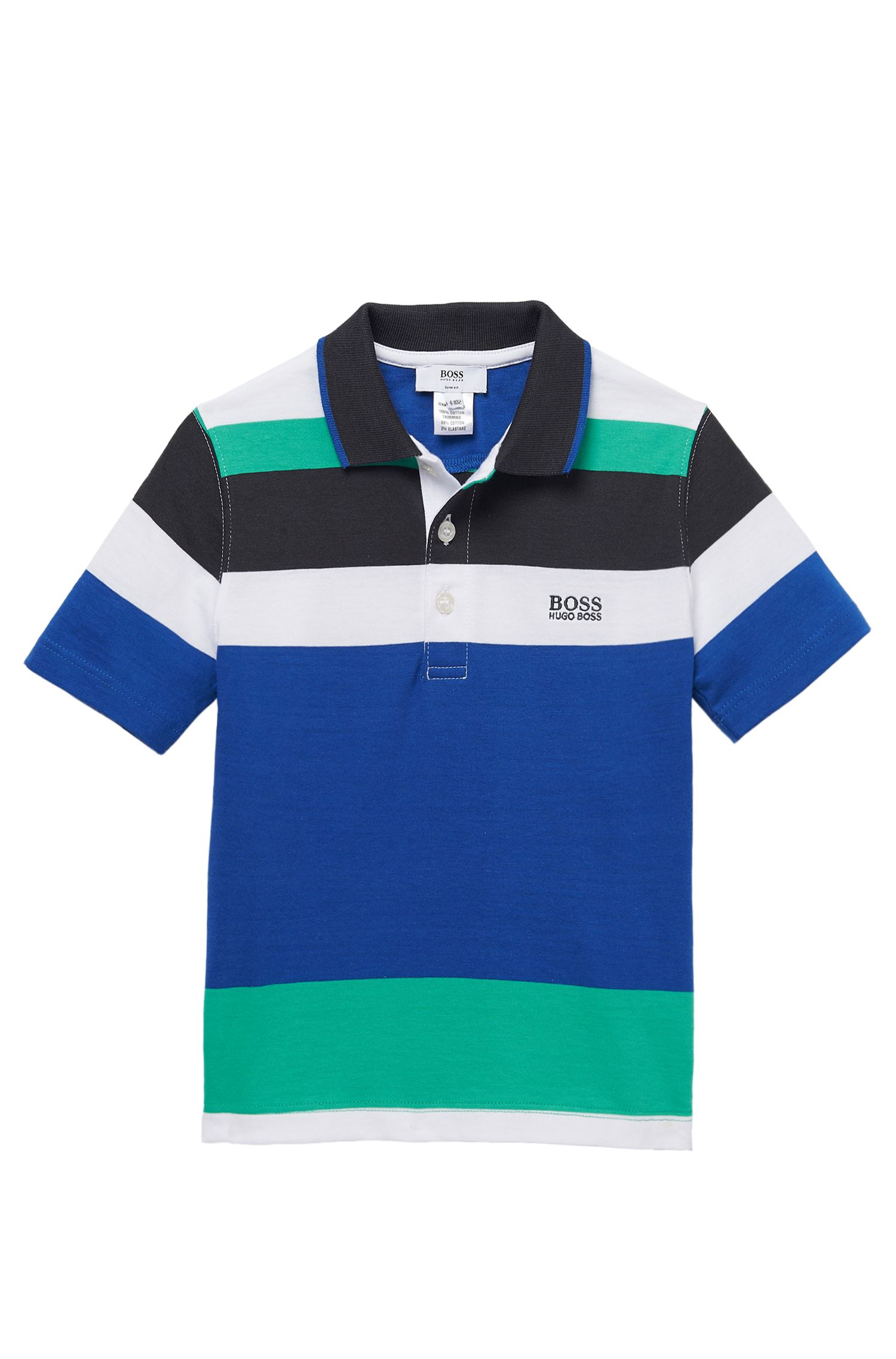 'J25669' | Boys Cotton Jersey Color Blocked Polo Shirt