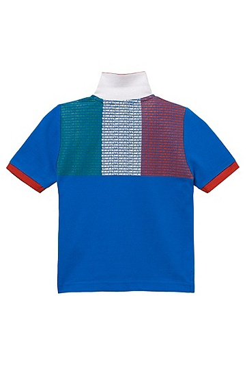 'J25671' | Boy's Country Cotton Polo Shirt with Flag Back, Patterned