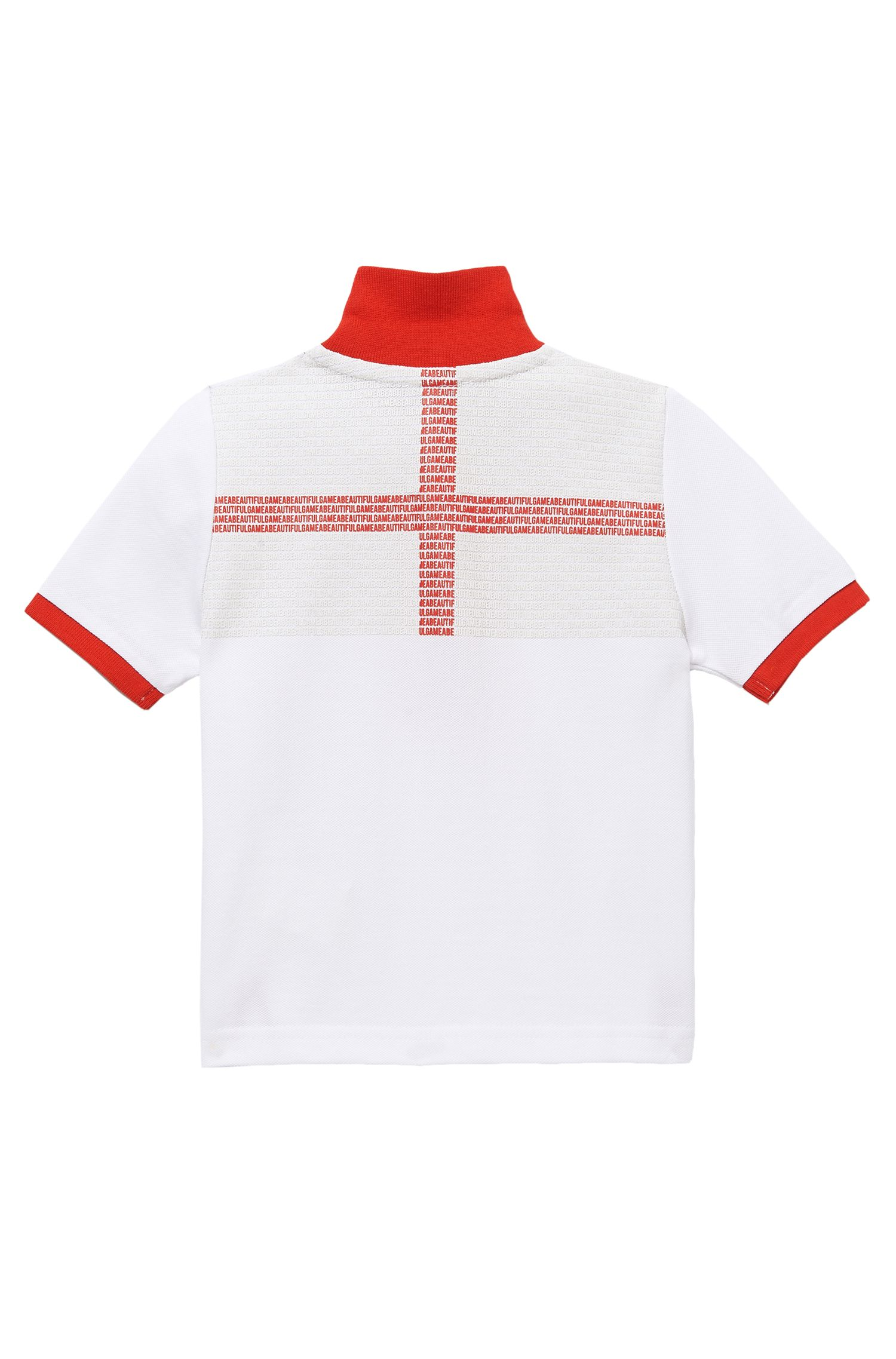 'J25671' | Boy's Country Cotton Polo Shirt with Flag Back