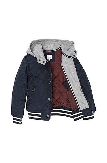'J26189' | Boys Quilted Nylon Hooded Jacket, Dark Blue