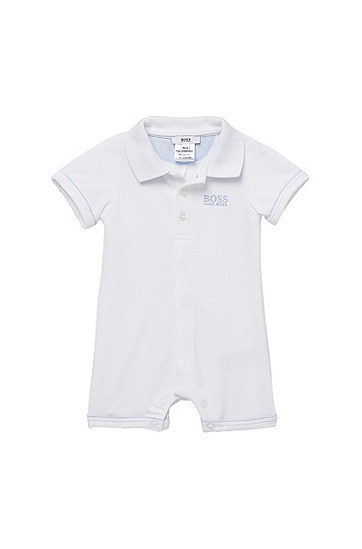 'J94082' | Infant Piqué Cotton Polo Onesie, White
