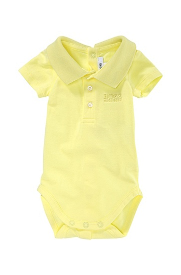 'J97066' | Infant Cotton Jersey Polo Onesie, Light Yellow