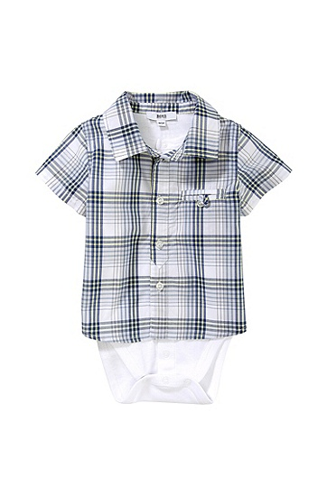 'J97067' | Infant Cotton Jersey and Check Poplin Shirt Onesie, Light Blue