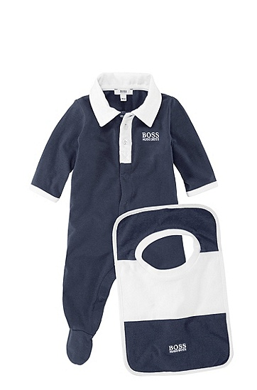 'J98097' | Infant Cotton Jersey Polo Onesie and Bib Set, Dark Blue