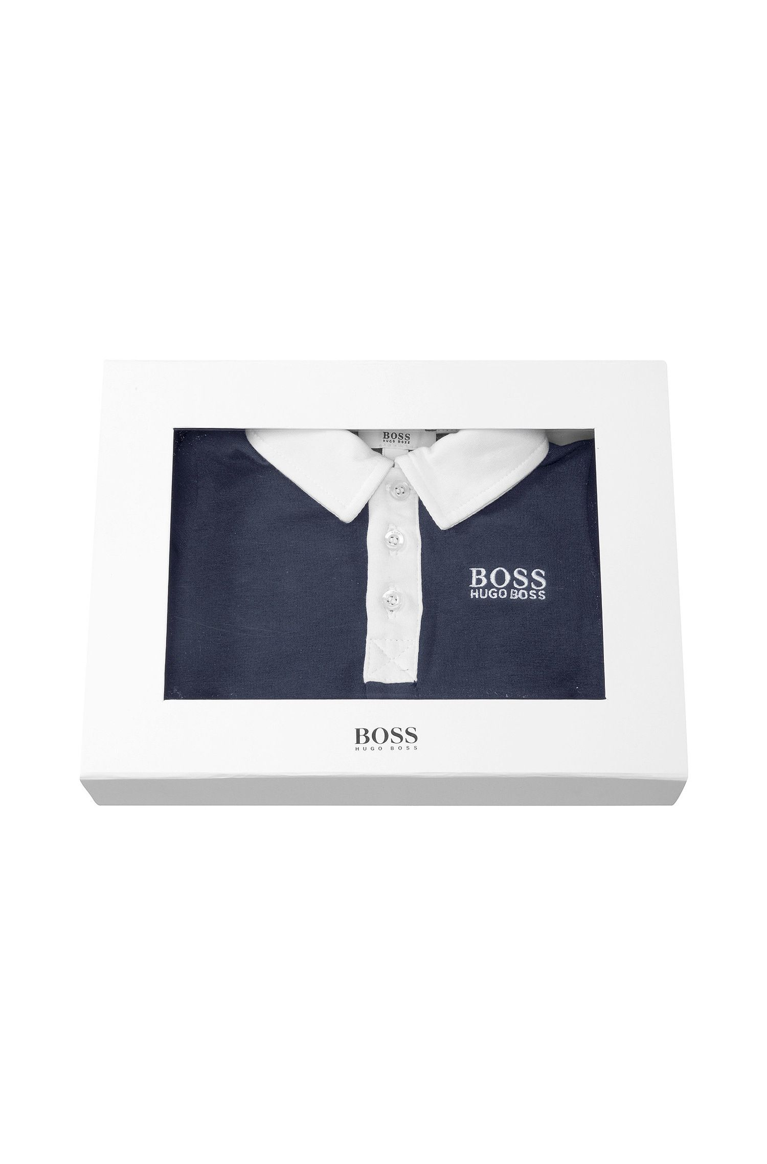 'J98097' | Infant Cotton Jersey Polo Onesie and Bib Set