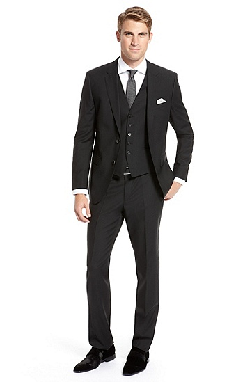 BOSS Black Virgin Wool Pinstripe Three-Piece Suit,
