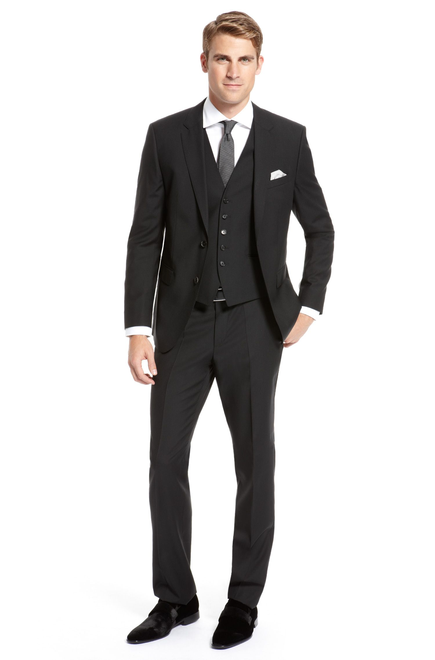 BOSS Black Virgin Wool Pinstripe Three-Piece Suit