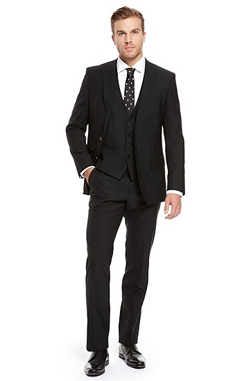 BOSS Black Wool Blend Three-Piece Suit,