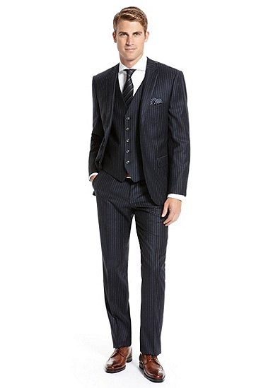 BOSS Selection Pinstripe Three-Piece Suit,