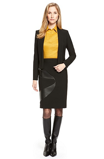 Stretch Skirt Suit with Faux Leather Trim,