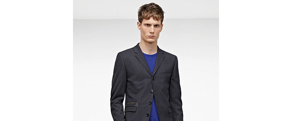Black HUGO tailored jacket over blue sweater