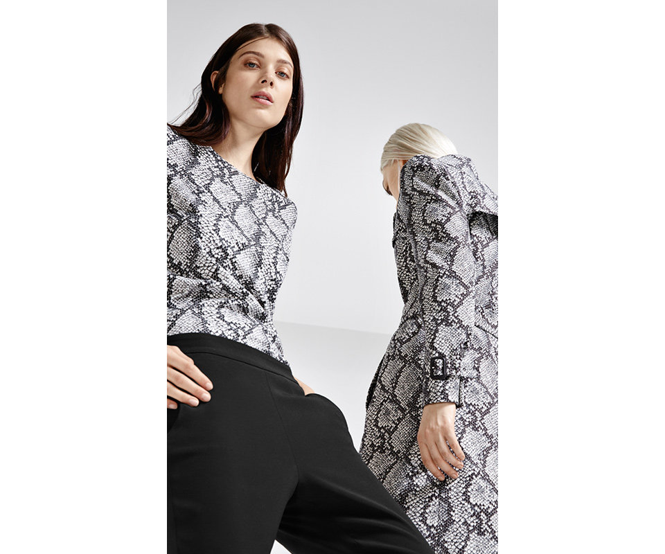 HUGO coat and T-shirt in snakeskin jacquard, black trousers