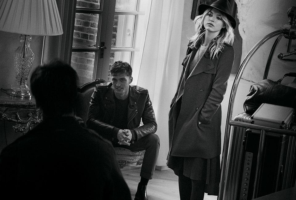 BOSSOrange coat, skirt andhat