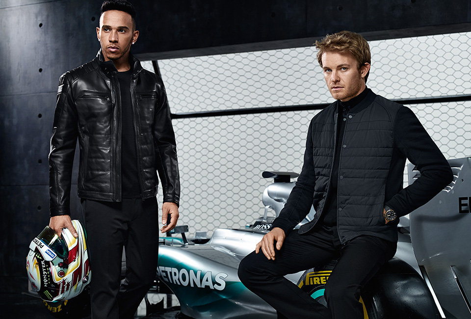 The new collection features innovative fabrics carbon for Hugo boss mercedes benz jacket