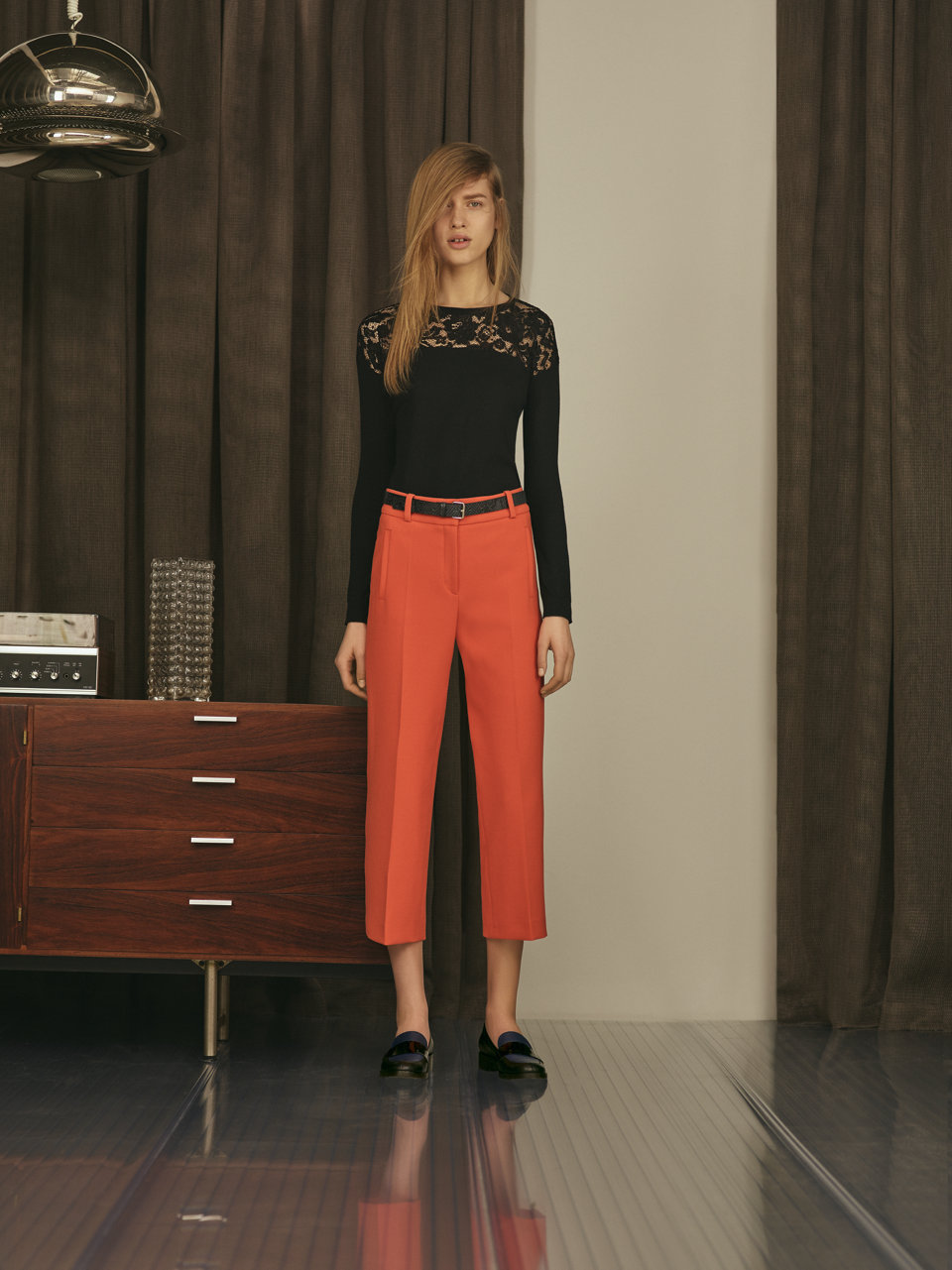 Evening black knitwear and coral trousers by HUGO