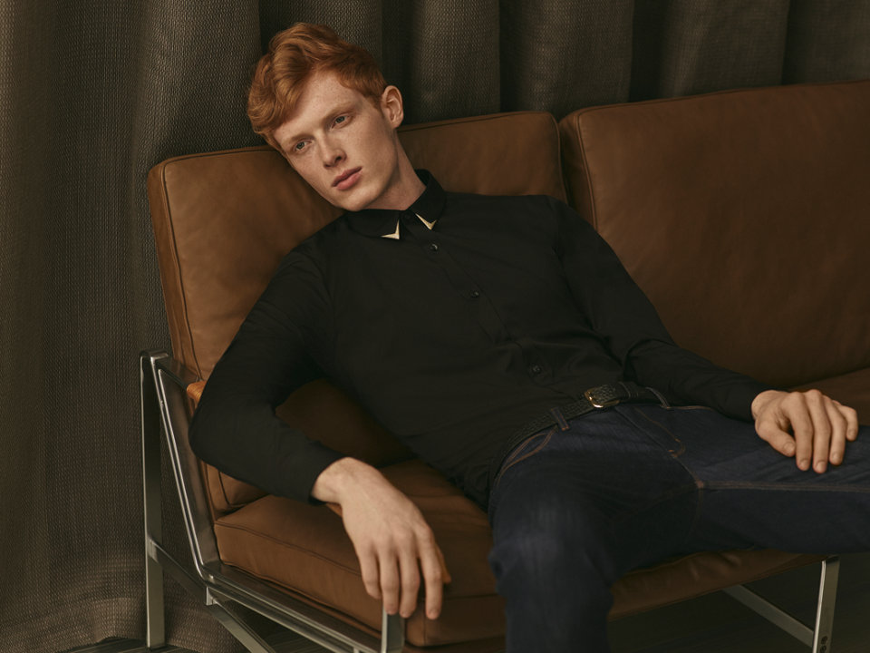 Black Shirt with shimmering trim on the collar and cuffs by HUGO