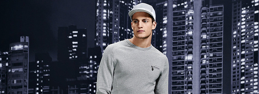 White cap and grey sweatshirt by&  BOSS Green