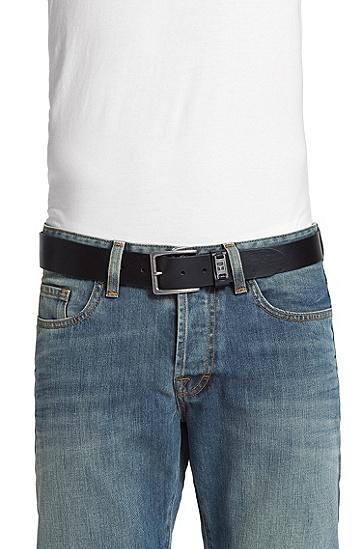 复古风格牛皮腰带'Jackson-N',  002_黑色