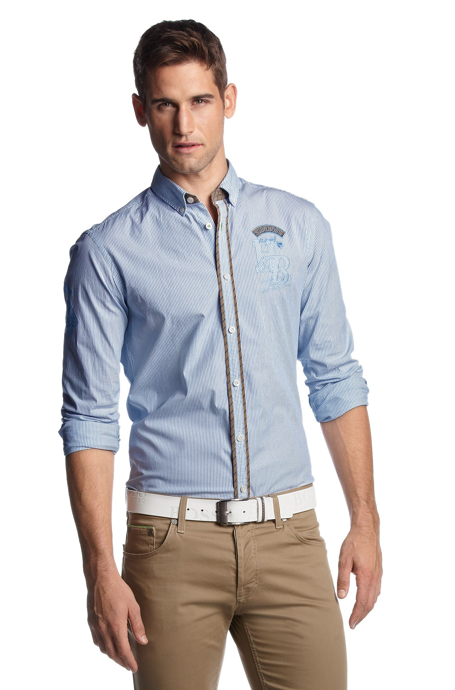 Gestreept overhemd ´Bondai` met logostiksels