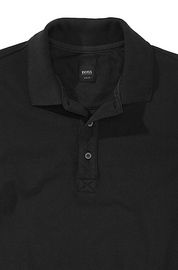 Stretch cotton polo shirt 'Forli', Black