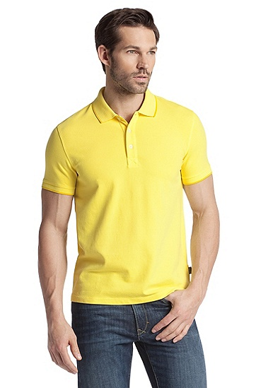 Stretch cotton polo shirt 'Forli', Yellow