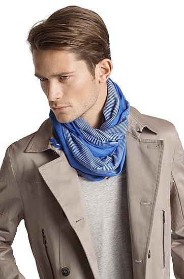 Écharpe design rayée, Men-Z 3030, Bleu