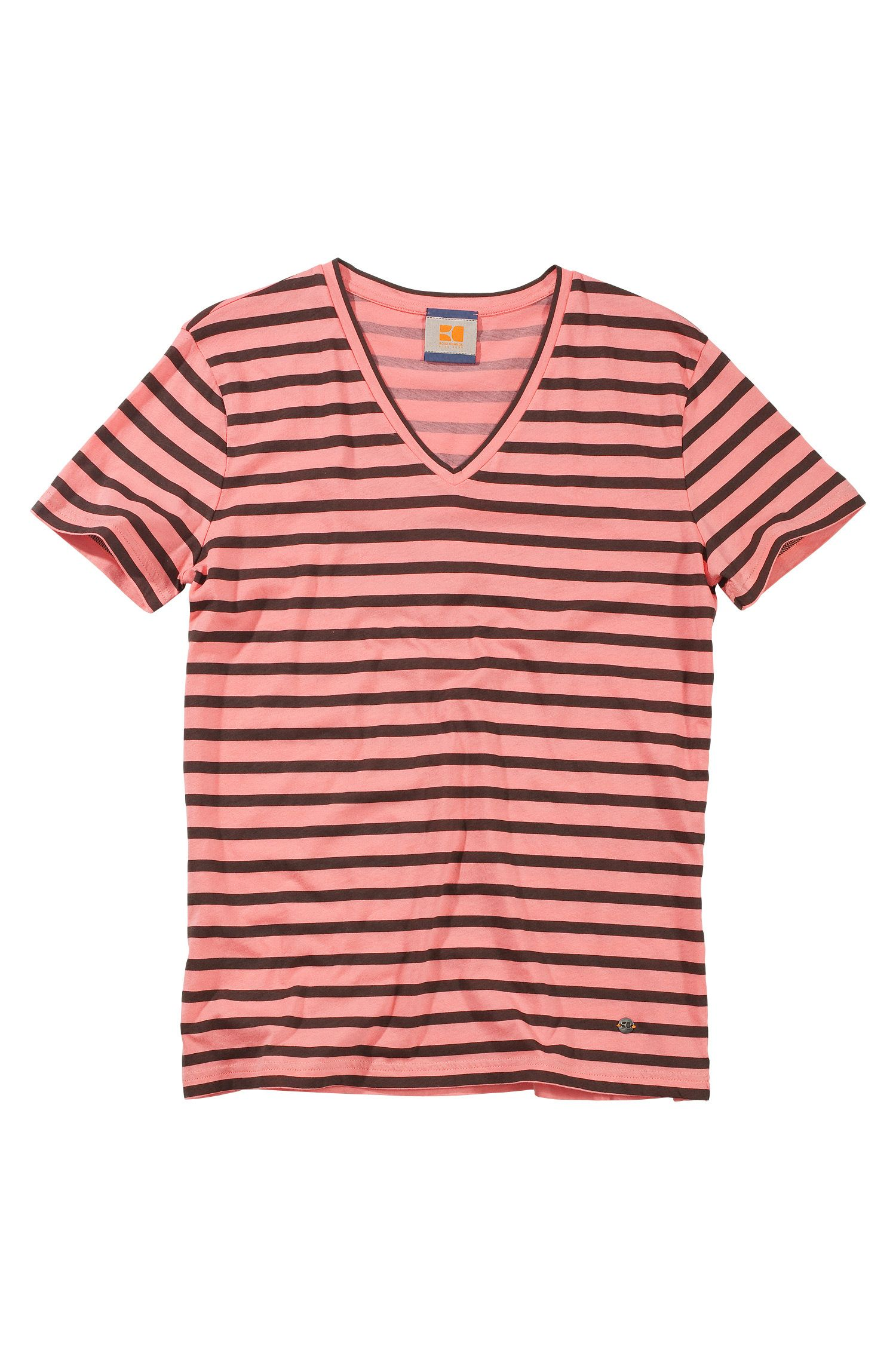 T-shirt col V en coton, Toast