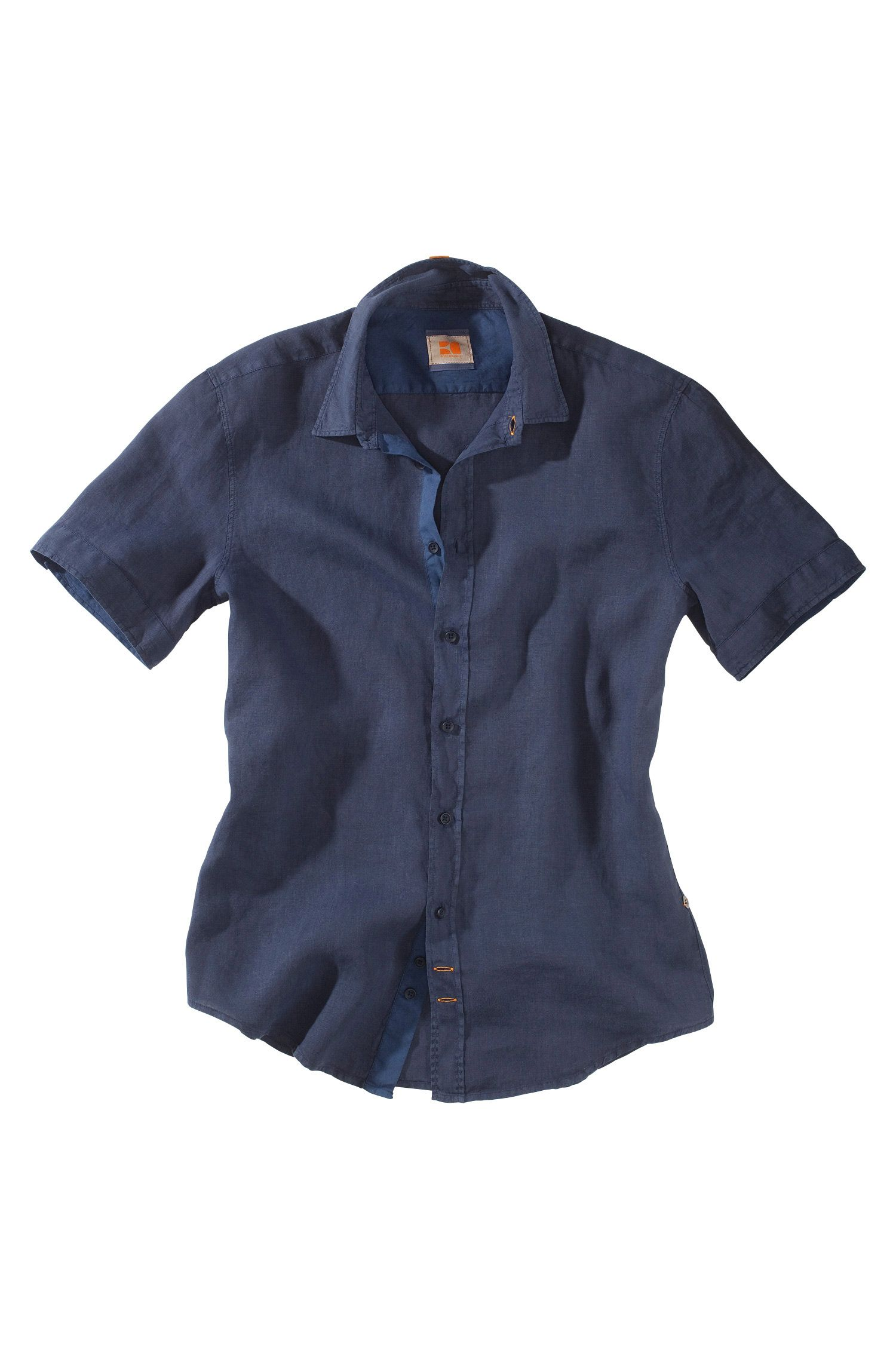 Overhemd ´Cliffi` met kentkraag en korte mouwen