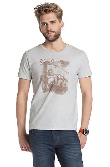 Rundhals-Shirt ´Tasko` mit großem Print-Motiv, Natur