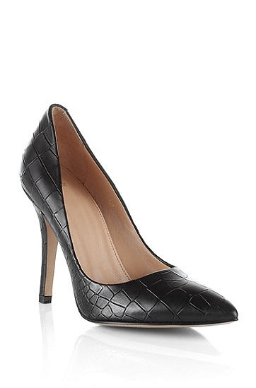 Embossed crocodile pattern court shoe 'Claudy', Black