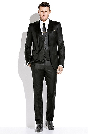 BOSS男装系列复古装饰皮革牛津鞋,  001_黑色