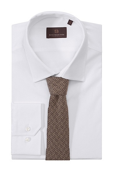Cravate en maille, Tie cm 6.5 knitted, Marron foncé