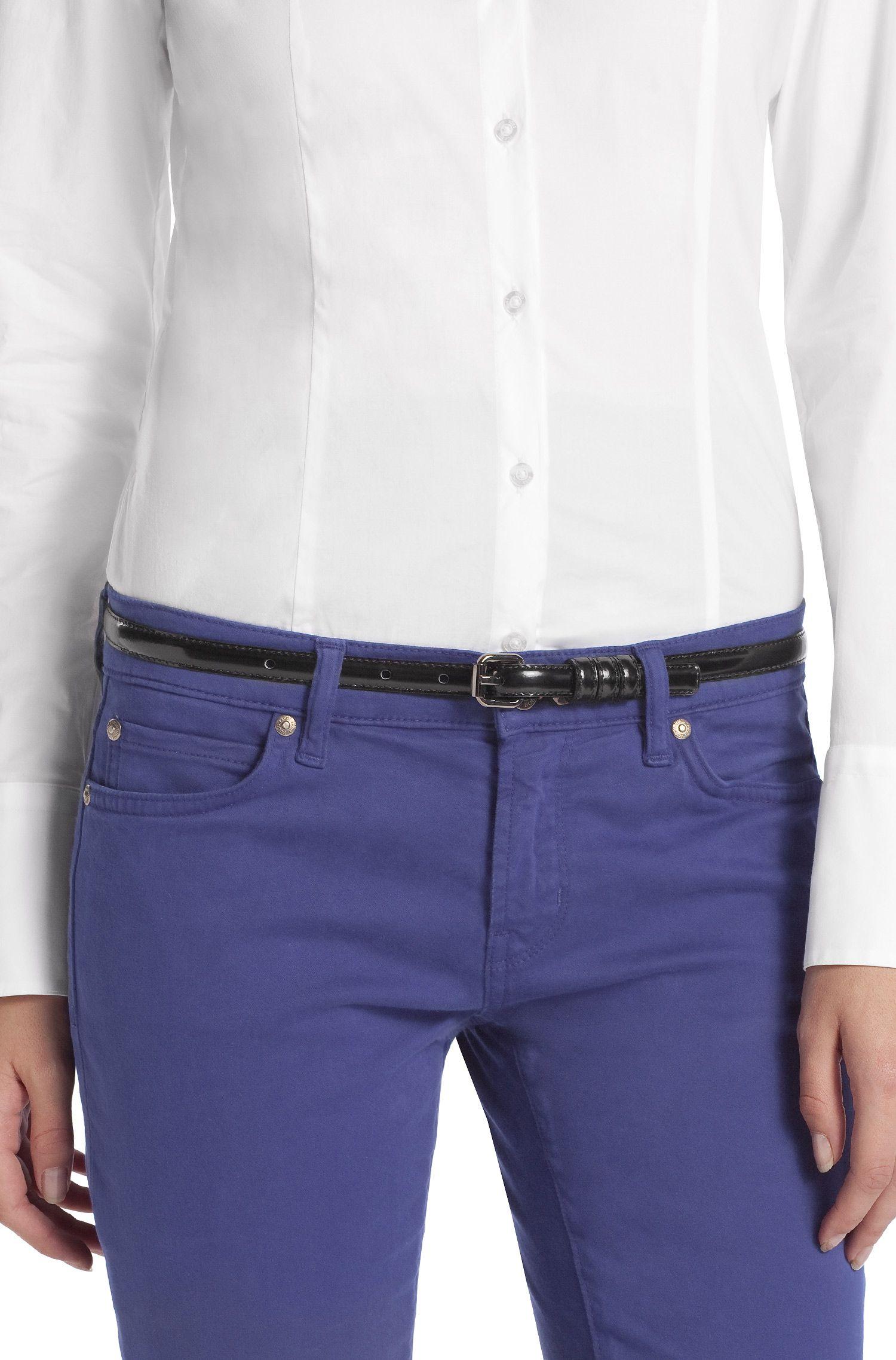 Fine ceinture en cuir d'aspect verni, Armidia-A