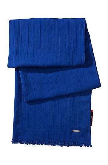 Schal ´Men-Z 391` aus Baumwolle mit Fransen, Blau