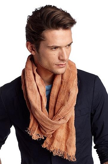 Schal ´Notcar1` aus reinem Leinen, Dunkelorange