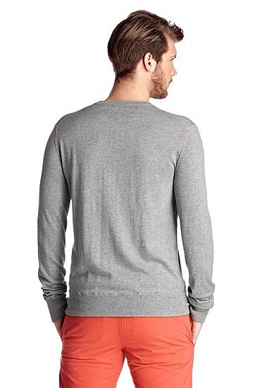 Strickpullover ´Kebbe` mit Brusttasche, Silber