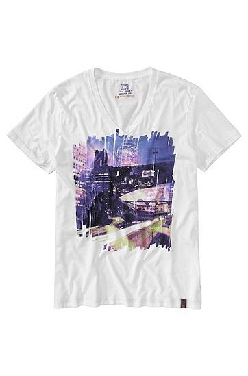 T-Shirt ´Tryon` mit V-Ausschnitt, Weiß