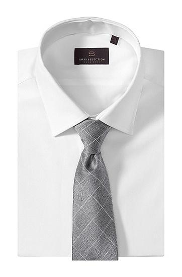 Krawatte ´TIE CM 8` mit Rauten-Dessin, Silber