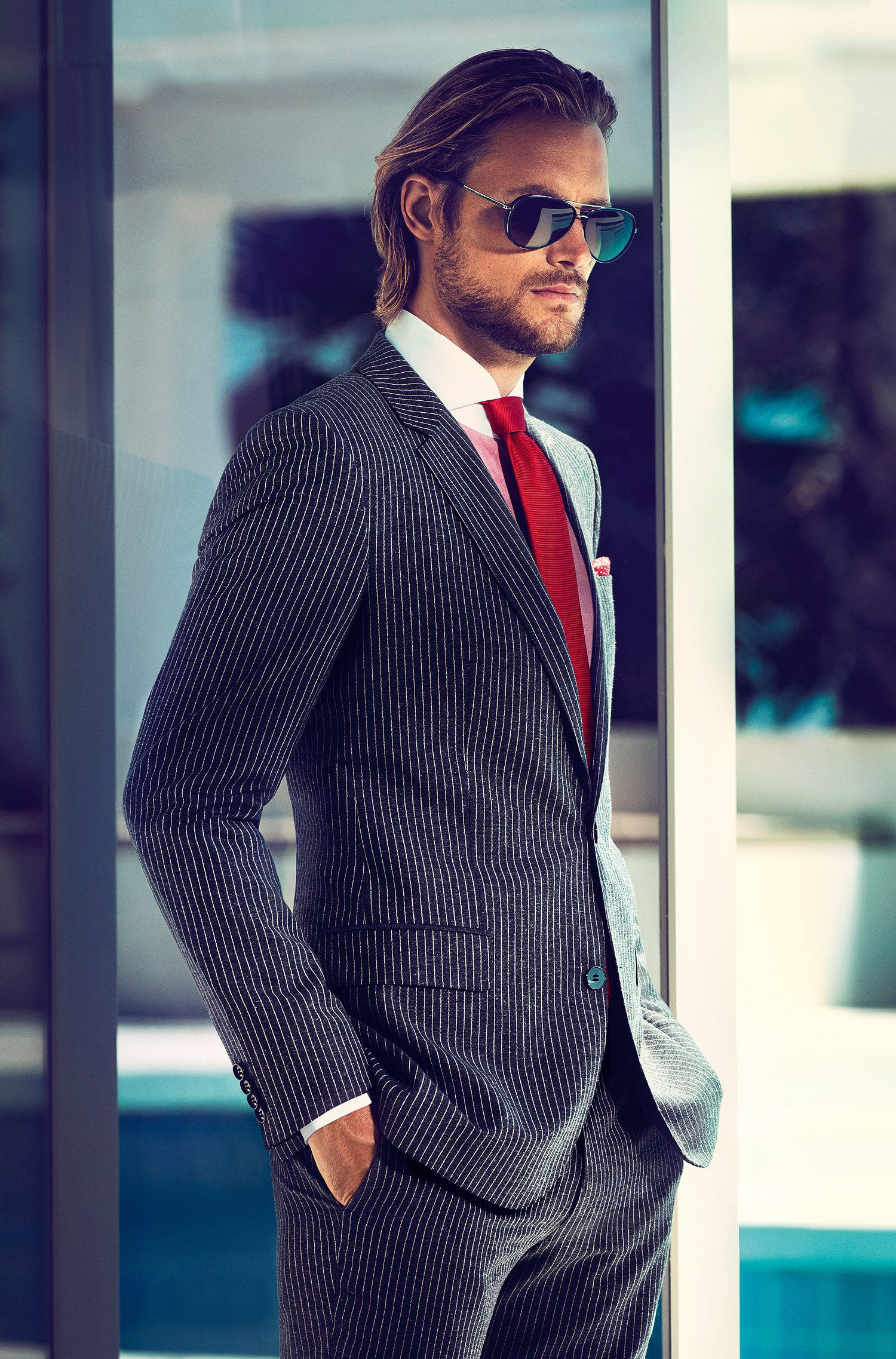 Gestreifte Krawatte ´Tie 6 cm` aus reiner Seide