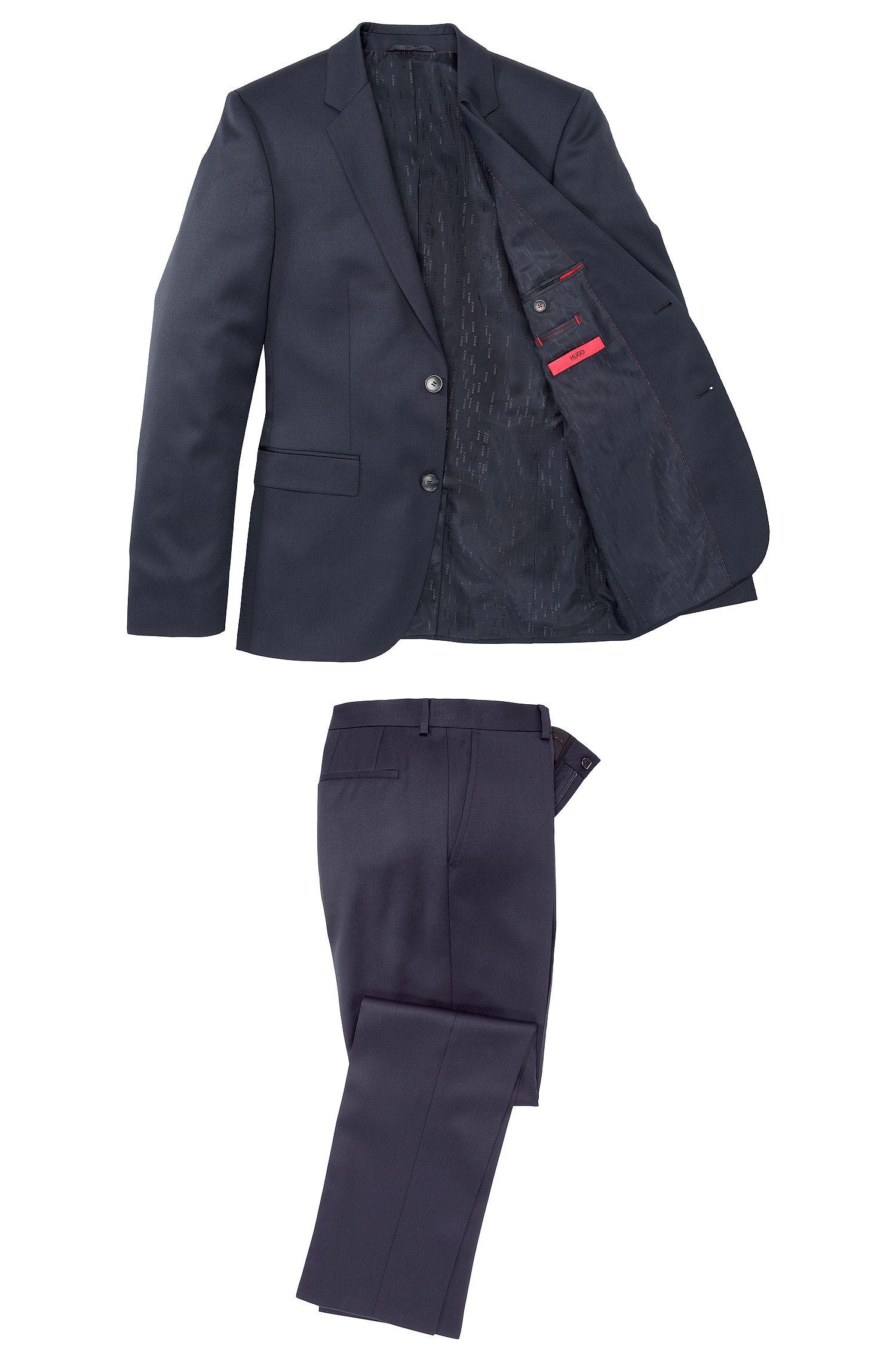 Unifarbener Slim-Fit Anzug aus reiner Schurwolle: 'Aeron1/Hamen1'