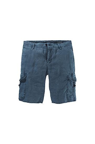 Regular-Fit Leinen-Shorts ´Schwinn1-Shorts-D`, Dunkelblau