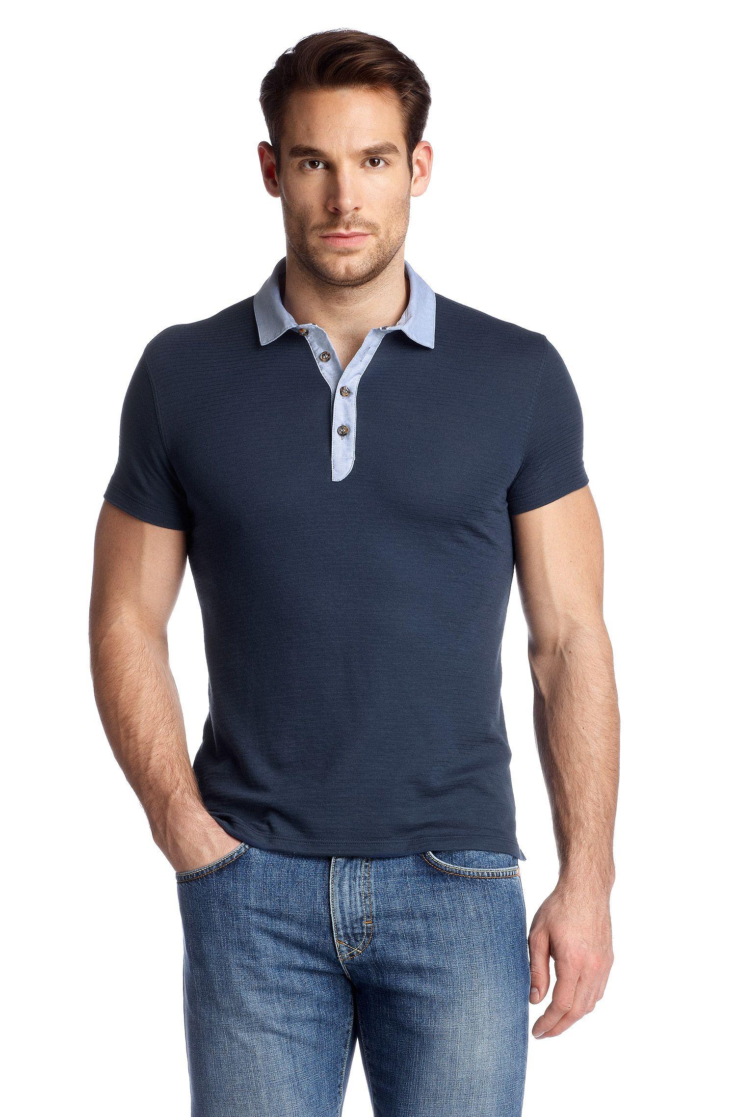 Poloshirt ´Salino 02` mit eingewebten Querstreif