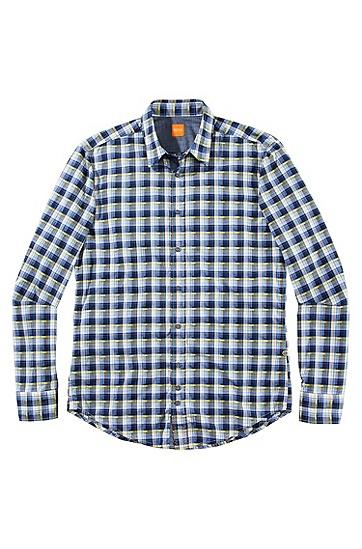 Slim-Fit Freizeit-Hemd ´CliffE` mit Karomuster, Blau