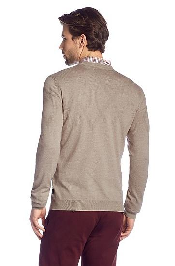 Pullover ´Miles` aus Schurwolle, Hellbeige