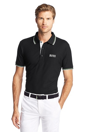 Regular-Fit Golf-Polo ´Paddy Pro` aus Funktionspiqué, Schwarz